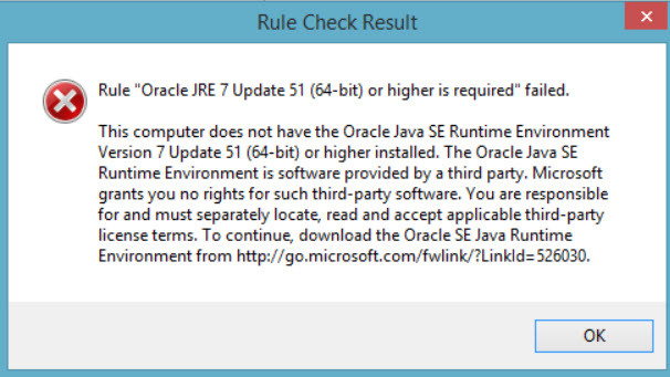 SQL SERVER 2016 FIX ERROR: Install – Rule Oracle JRE 7 Update 51 (64-bit) or higher is required failed