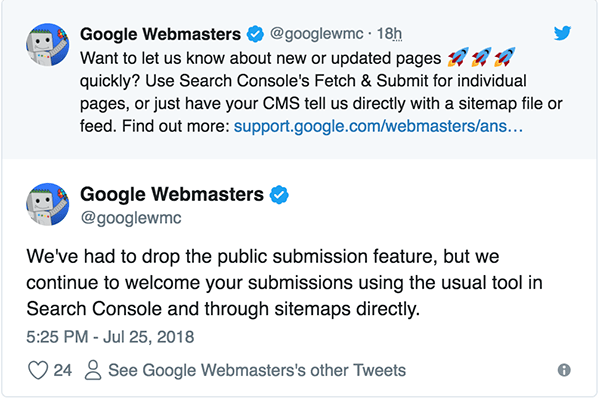 Google chính thức thông báo ngừng hỗ trợ index website bằng URL submit